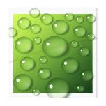 Gotitas de agua en fondo cuadrado verde impresión en lona estirada