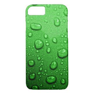 Gotitas de agua en fondo verde, fresco y mojado funda iPhone 7