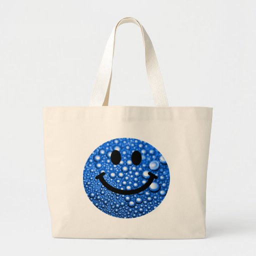 Gotitas de agua sonrientes bolsa de tela grande