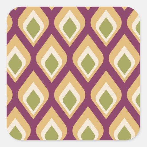 Gotitas púrpuras, verdes y amarillas colcomanias cuadradas