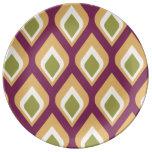 Gotitas púrpuras, verdes y amarillas platos de cerámica