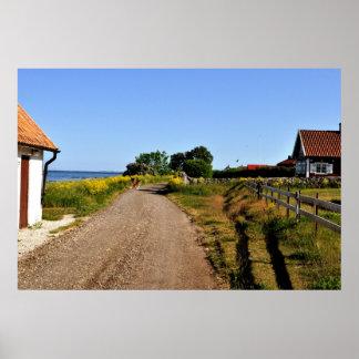 Gotland Island Sweden Dirt Road Baltic Sea Poster
