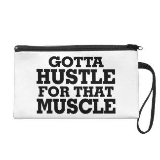 Gotta Hustle For That Muscle Black Wristlet Purse