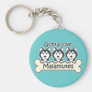 Gotta Love Malamutes Basic Round Button Keychain