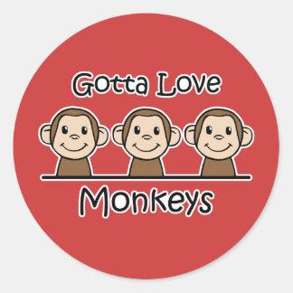 Gotta Love Monkeys Classic Round Sticker