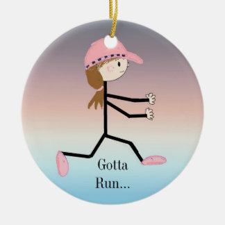 Gotta Run Female Running Figure Double-Sided Ceramic Round Christmas Ornament