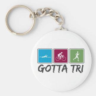 gotta tri (Triathlon) Basic Round Button Keychain