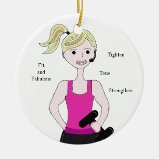 Gotta Work Out Female Weight Lifting Ceramic Ornament