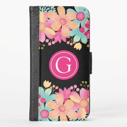 Gouache Floral Iphone X Wallet Case