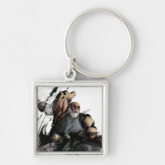 Gouken Chop Silver-Colored Square Keychain