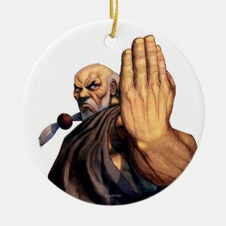 Gouken Raised Hand Double-Sided Ceramic Round Christmas Ornament