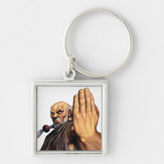 Gouken Raised Hand Silver-Colored Square Keychain