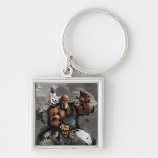 Gouken Stance Silver-Colored Square Keychain