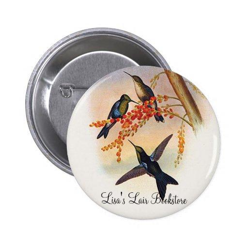 Gould - colibrí Verde-Coronado de la Madera-Ninfa Pin Redondo 5 Cm