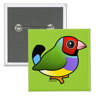 Gouldian Finch 2 Inch Square Button