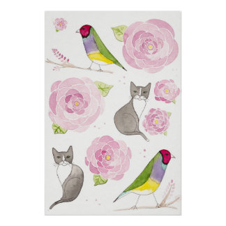 Gouldian Finches Cats and Flowers Poster