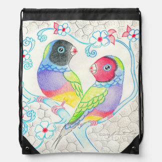 Gouldian Finches Drawstring Backpack