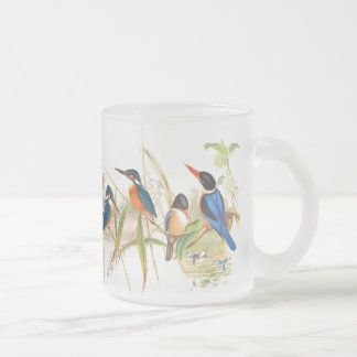 Goulds Kingfisher Birds Frosted Glass Coffee Mug