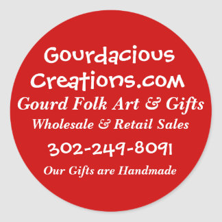 Gourdacious, Creations.com, Gourd Folk Art & Gi... Classic Round Sticker