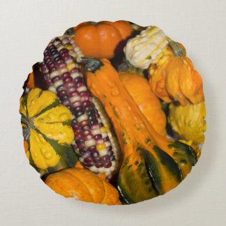 Gourds & Corn Assortment Round Pillow
