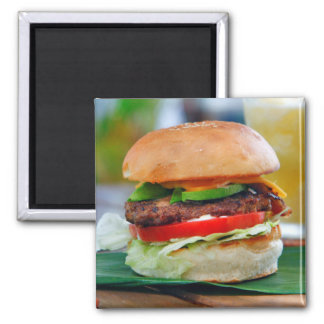 Gourmet Burger and Smoothies 2 Inch Square Magnet