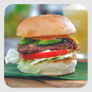 Gourmet Burger and Smoothies Square Sticker