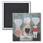 Gourmet Chef Cats/Kitties 2 Inch Square Magnet