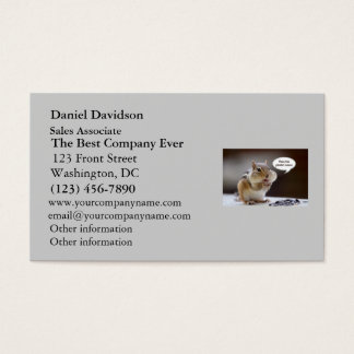 Gourmet Chef or Cook Chipmunk Photo Business Card