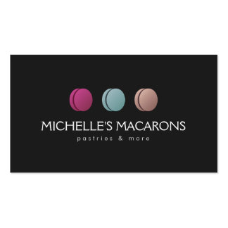 Gourmet French Macaron Trio Logo Bakery, Cafe Double-Sided Standard Business Cards (Pack Of 100)