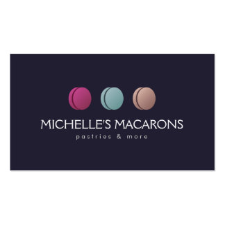 Gourmet French Macaron Trio Logo for Bakery, Cafe Double-Sided Standard Business Cards (Pack Of 100)
