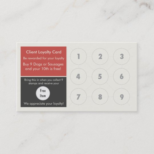 Gourmet hot dog loyalty business card stamp card zazzle gourmet hot dog loyalty business card stamp card reheart Gallery