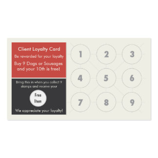 Gourmet Hot Dog Loyalty Business Card Stamp Card
