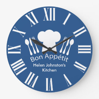 Gourmet Kitchen Bon Appetit Blue and White Large Clock