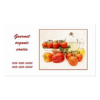gourmet organic tomato sauces business card