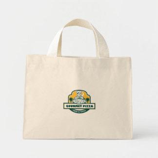 Gourmet Pizza Chef Palmetto Trees Shield Retro Mini Tote Bag