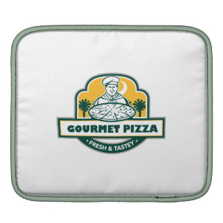 Gourmet Pizza Chef Palmetto Trees Shield Retro Sleeve For iPads