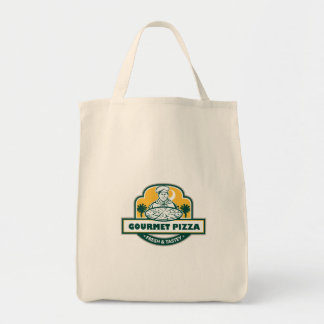 Gourmet Pizza Chef Palmetto Trees Shield Retro Tote Bag