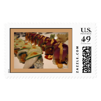 Gourmet Sushi Plate On Real USPS Postage Stamps Stamp