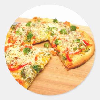 Gourmet Veggie Pizza Classic Round Sticker