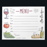 """Gourmet Weekly Dinner Menu Sticky Notepad<br><div class=""""desc"""">Keep track of your culinary plans for the week with this convenient sticky notepad. Also makes a great gift for your favorite chef.</div>"""