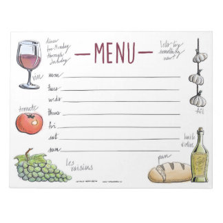 Gourmet Weekly Dinner Menu Sticky Notepad