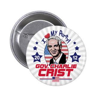 Gov. Charlie Crist 2012 Gear Pinback Buttons