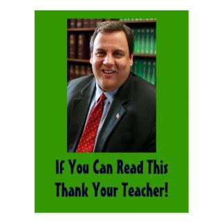 Gov. Chris Christie Thank Your Teacher Postcard