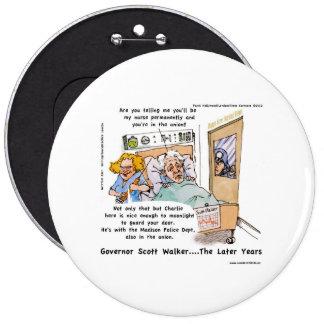 Gov Scott Walker Funny Satirical Gifts Tees Etc 6 Inch Round Button