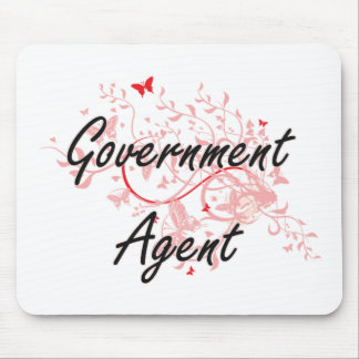 Government Agent Artistic Job Design with Butterfl Mouse Pad