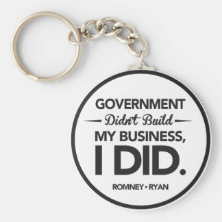 Government Didn't Build My Business Black Border Basic Round Button Keychain