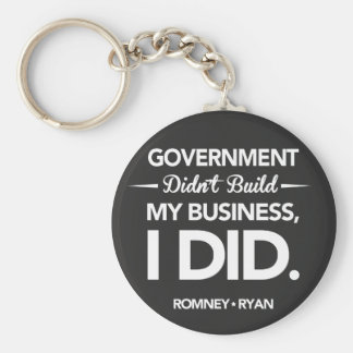 Government Didn't Build My Business Black Button Keychain