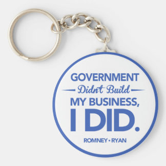 Government Didn't Build My Business (Blue Border) Basic Round Button Keychain