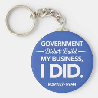 Government Didn't Build My Business Button (Blue) Keychain