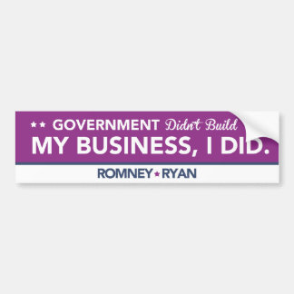Government Didn't Build My Business, I DID. Purple Car Bumper Sticker
